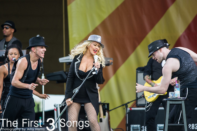 Christina Aguilera performs during the New Orleans Jazz & Heritage Festival in New Orleans, LA.