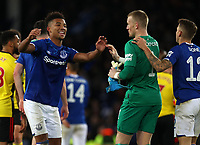 29th October 2019; Goodison Park, Liverpool, Merseyside, England; English Football League Cup, Carabao Cup Football, Everton versus Watford; scorer of Everton's first goal Mason Holgate celebrates with team mates Jordan Pickford and Lucas Digne  - Strictly Editorial Use Only. No use with unauthorized audio, video, data, fixture lists, club/league logos or 'live' services. Online in-match use limited to 120 images, no video emulation. No use in betting, games or single club/league/player publications