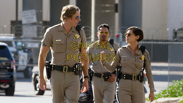 CHIPS (2017)<br /> DAX SHEPARD as Jon, MICHAEL PENA as Ponch and ROSA SALAZAR as Ava Perez<br /> *Filmstill - Editorial Use Only*<br /> FSN-K<br /> Image supplied by FilmStills.net