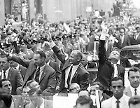 New York (NY) USA - August 13, 1969<br /> -New York City welcomes the three Apollo 11 astronauts, Neil A. Armstrong, Michael Collins, and Buzz Aldrin, Jr., in a showering of ticker tape down Broadway and Park Avenue, in a parade termed at the time as the largest in the city's history.
