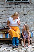 Estonia, Muhu Island. Muhu Jaanalind, guest house and farm. Elizabeth Kumar and her daughter.