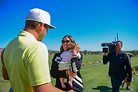 Kevin Chappell (USA) and wife Elizabeth rush to hug each other after Kevin won the 2017 Valero Texas Open, AT&amp;T Oaks Course, TPC San Antonio, San Antonio, Texas, USA. 4/23/2017.<br /> Picture: Golffile | Ken Murray<br /> <br /> <br /> All photo usage must carry mandatory copyright credit (&copy; Golffile | Ken Murray)