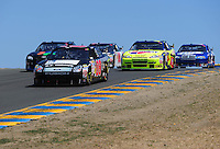 Jun. 21, 2009; Sonoma, CA, USA; NASCAR Sprint Cup Series driver Boris Said leads a pack of cars during the SaveMart 350 at Infineon Raceway. Mandatory Credit: Mark J. Rebilas-
