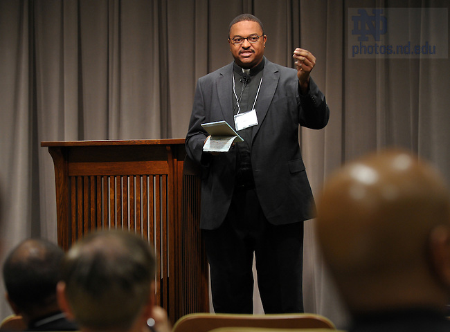 """Rev. Patrick A. Smith, S.T.L. speaks at the opening session of the """"Stir into Flame"""" symposium at the University of Notre Dame May 4, 2010...Photo by Matt Cashore/University of Notre Dame"""