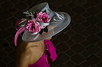 LOUISVILLE, KY - MAY 04: A woman wears a fancy flowered hat on Kentucky Oaks Day at Churchill Downs on May 4, 2018 in Louisville, Kentucky. (Photo by Scott Serio/Eclipse Sportswire/Getty Images)