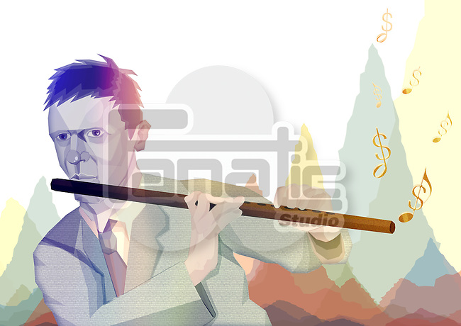 Illustrative image of businessman playing flute representing finance