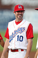 Auburn Doubledays outfielder Connor Rowe #10 before game one of the NY-Penn League Championship Series against the Staten Island Yankees at Falcon Park on September 12, 2011 in Auburn, New York.  Staten Island defeated Auburn 9-2.  (Mike Janes/Four Seam Images)