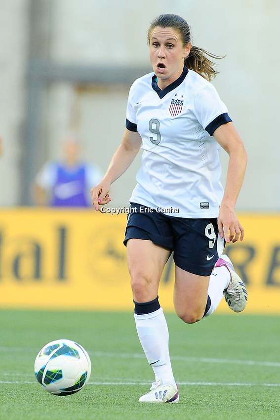 US Women's National midfielder Heather O'Reilly (9) in action during the International Friendly soccer match between the USA Women's National team and the Korea Republic Women's Team held at Gillette Stadium in Foxborough Massachusetts.   Eric Canha/CSM