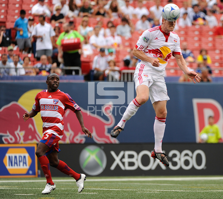 John Wolyniec (15) of the New York Red Bulls heads the ball. The New York Red Bulls defeated FC Dallas 3-2 during a Major League Soccer match at Giants Stadium in East Rutherford, NJ, on August 23, 2009.
