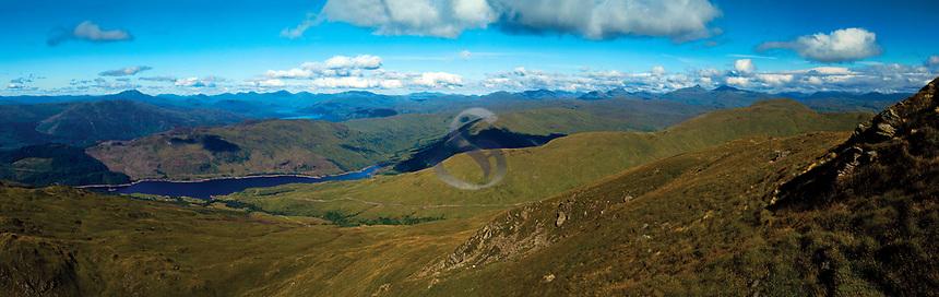 Glen Finglas Reservoir and the Southern Highlands from Ben Ledi, Loch Lomond and the Trossachs National Park, Stirlingshire