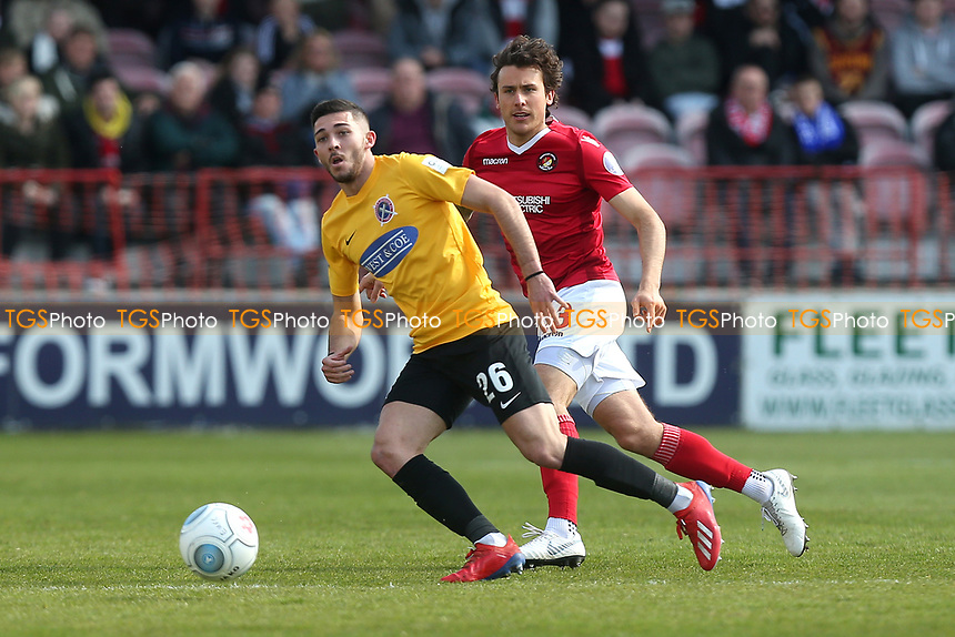 Ollie Harfield of Dagenham and Redbridge and Lawrie Wilson of Ebbsfleet during Ebbsfleet United vs Dagenham & Redbridge, Vanarama National League Football at The Kuflink Stadium on 13th April 2019