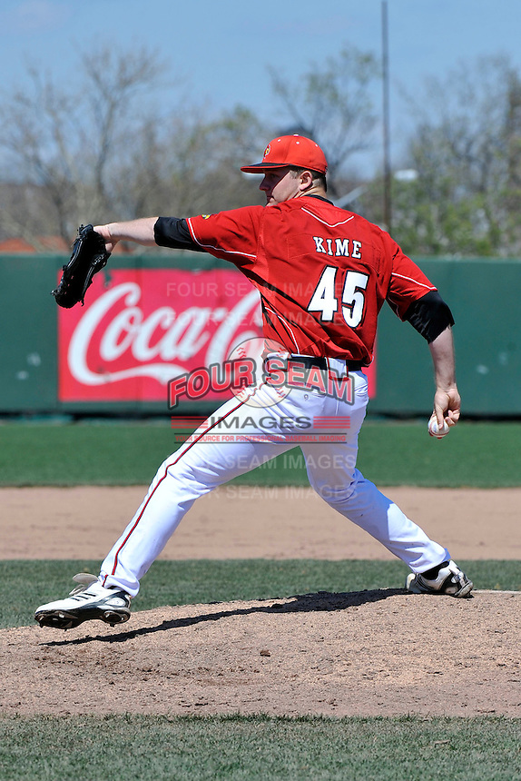 Louisville Cardinals pitcher Dace Kime (45) during a game against St.John's Red Storm at Jack Kaiser Stadium in Queens, New York;  April 17, 2011.  St. John's defeated Louisville 7-2.  Photo By Tomasso DeRosa/Four Seam Images