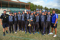 CBHS with the tournament trophy. 2017 the Secondary School Boys' First XI Cup national cricket finals presentations at Fitzherbert Park in Palmerston North, New Zealand on Friday, 8 December 2017. Photo: Dave Lintott / lintottphoto.co.nz