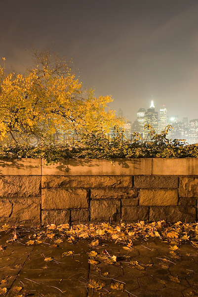THIS IMAGE IS AVAILABLE EXCLUSIVELY FROM CORBIS<br /> <br /> Please search for image # 42-19639306 on www.corbis.com<br /> <br /> View of Lower Manhattan Skyline, Illuminated at Night, seen thru trees and fence in Brooklyn Heights, Brooklyn, New York City, USA