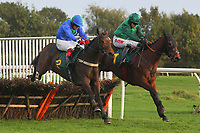 Chasse En Mer ridden by Robert Thornton (L) and Ariane Nopolis ridden by Jason Maguire in jumping action during the Norfolk Fillies Juvenile Hurdle
