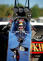 Sept. 5, 2010; Clermont, IN, USA; NHRA top fuel dragster driver Larry Dixon during qualifying for the U.S. Nationals at O'Reilly Raceway Park at Indianapolis. Mandatory Credit: Mark J. Rebilas-