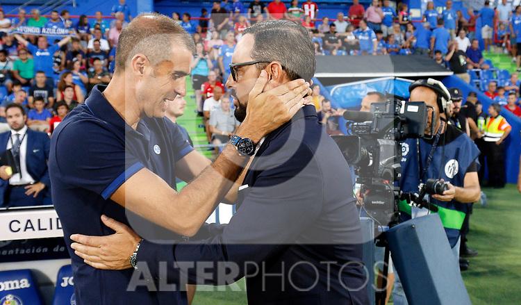 Athletic Club de Bilbao's coach Gaizka Garitano and Getafe CF's coach Jose Bordalas during La Liga match. Aug 24, 2019. (ALTERPHOTOS/Manu R.B.)