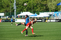 Kansas City, MO - Saturday May 13, 2017:  Sydney Leroux and Emily Sonnett compete for ball during a regular season National Women's Soccer League (NWSL) match between FC Kansas City and the Portland Thorns FC at Children's Mercy Victory Field.