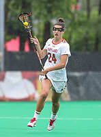 College Park, MD - May 19, 2018: Maryland Terrapins Julia Braig (24) runs with the ball during the quarterfinal game between Navy and Maryland at  Field Hockey and Lacrosse Complex in College Park, MD.  (Photo by Elliott Brown/Media Images International)