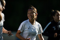 Seattle, WA - Saturday, July 02, 2016: Seattle Reign FC forward Nahomi Kawasumi (36) prior to a regular season National Women's Soccer League (NWSL) match between the Seattle Reign FC and the Boston Breakers  at Memorial Stadium.