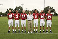 7 August 2006: Position Photos during Stanford Football's Picture Day at the Stanford practice field in Stanford, CA. (L-R): Alex Loukas, Garrett Moore, T.C. Ostrander, head coach Walt Harris, Trent Edwards, Tavita Pritchard, Nicholas Ruhl.