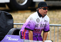 Aug. 3, 2013; Kent, WA, USA: NHRA top alcohol dragster driver Chris Demke during qualifying for the Northwest Nationals at Pacific Raceways. Mandatory Credit: Mark J. Rebilas-USA TODAY Sports
