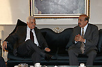 Palestinian President Mahmoud Abbas meets with Secretary General of the Palestinian Liberation Front Ali Aziz, in The Syrian Capital of Damascus.