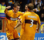 Ross Forbes celebrates his winning goal for Motherwell late in extra-time