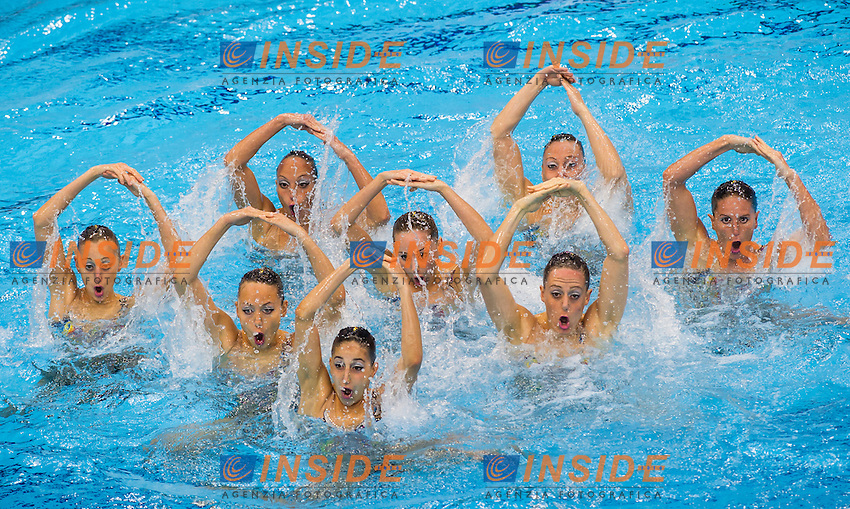 Team ITA bronze medal<br /> London, Queen Elizabeth II Olympic Park Pool <br /> LEN 2016 European Aquatics Elite Championships <br /> Synchro<br /> Team technical final <br /> Day 01 09-05-2016<br /> Photo Giorgio Perottino/Deepbluemedia/Insidefoto