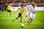 11.05.2019, Signal Iduna Park, Dortmund, GER, 1.FBL, Borussia Dortmund vs Fortuna Düsseldorf, DFL REGULATIONS PROHIBIT ANY USE OF PHOTOGRAPHS AS IMAGE SEQUENCES AND/OR QUASI-VIDEO<br /> <br /> im Bild | picture shows:<br /> Christian Pulisic (Borussia Dortmund #22) mit Niko Giesselmann (Fortuna #23) und Markus Suttner (Fortuna #14), <br /> <br /> Foto © nordphoto / Rauch
