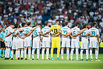 Players of Real Madrid line up and pose for a photo prior to the Santiago Bernabeu Trophy 2017 match between Real Madrid and ACF Fiorentina at the Santiago Bernabeu Stadium on 23 August 2017 in Madrid, Spain. Photo by Diego Gonzalez / Power Sport Images