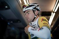 Jack Bobridge (AUS/Trek-Segafredo) getting suited up for the pre-Giro TT-training ride with Team Trek-Segafredo in Gelderland (The Netherlands)<br /> <br /> 99th Giro d'Italia 2016