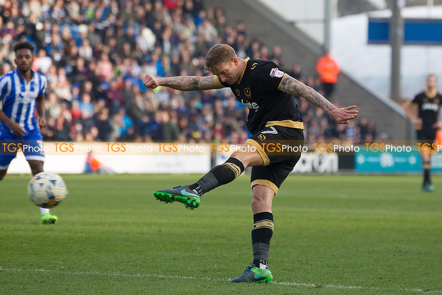 Carl Baker of Portsmouth fires an attempt at goal during Colchester United vs Portsmouth, Sky Bet EFL League 2 Football at the Weston Homes Community Stadium on 11th March 2017