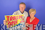 DASH: Mary Greaney from Tournageehy, Listowel, who was this week's winner of the Trolley Dash, with her husband Mike on Tuesday.