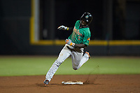 Eric Jenkins (5) of the Down East Wood Ducks hustles towards third base against the Winston-Salem Dash at BB&T Ballpark on May 10, 2019 in Winston-Salem, North Carolina. The Wood Ducks defeated the Dash 9-2. (Brian Westerholt/Four Seam Images)