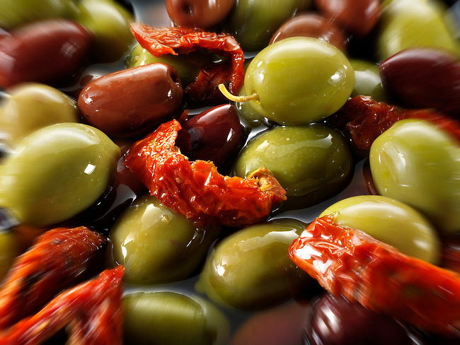 Fresh mixed green & kalamata olives olives photos, pictures & images.
