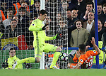 Chelsea's Thibaut Courtois saves from Manchester City's Sergio Aguero during the Premier League match at the Stamford Bridge Stadium, London. Picture date: April 5th, 2017. Pic credit should read: David Klein/Sportimage