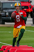 Green Bay Packers quarterback Taysom Hill (8) during an Organized Team Activity on May 23, 2017 at Clarke Hinkle Field in Green Bay, Wisconsin.  (Brad Krause/Krause Sports Photography)