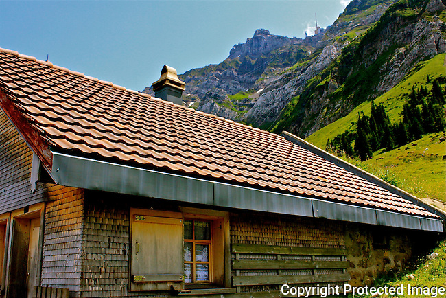 Dairy factory Swiss Alps Switzerland mountains N A Ebden photo