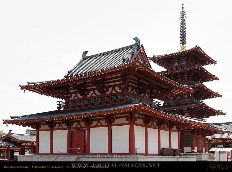 Kondo Golden Hall, Gojunoto 5-story Pagoda, Shitennoji, Osaka, Japan