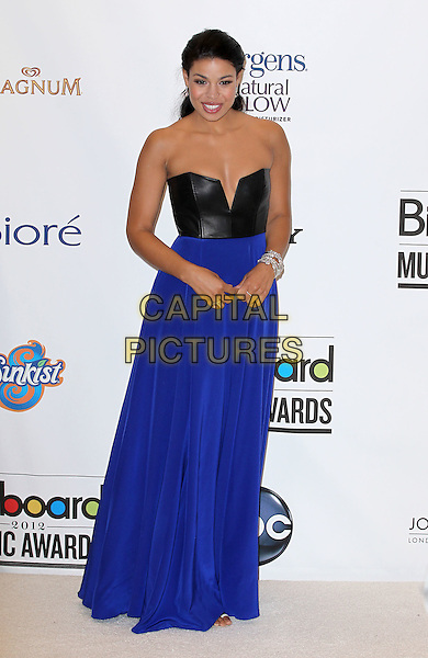 Jordin Sparks .2012 Billboard Music Awards Press Room at the MGM Grand Garden Arena Las Vegas, Las Vegas, Nevada, USA..May 20th, 2012.full length black strapless blue dress cleavage silver bracelets leather.CAP/ADM/MJT.© MJT/AdMedia/Capital Pictures.