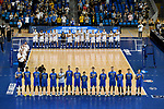 LOS ANGELES - MAY 5:  The UCLA Bruins and the Long Beach State 49ers stand for the national anthem before the Division 1 Men's Volleyball Championship on May 5, 2018 at Pauley Pavilion in Los Angeles, California. The Long Beach State 49ers defeated the UCLA Bruins 3-2. (Photo by John W. McDonough/NCAA Photos via Getty Images)
