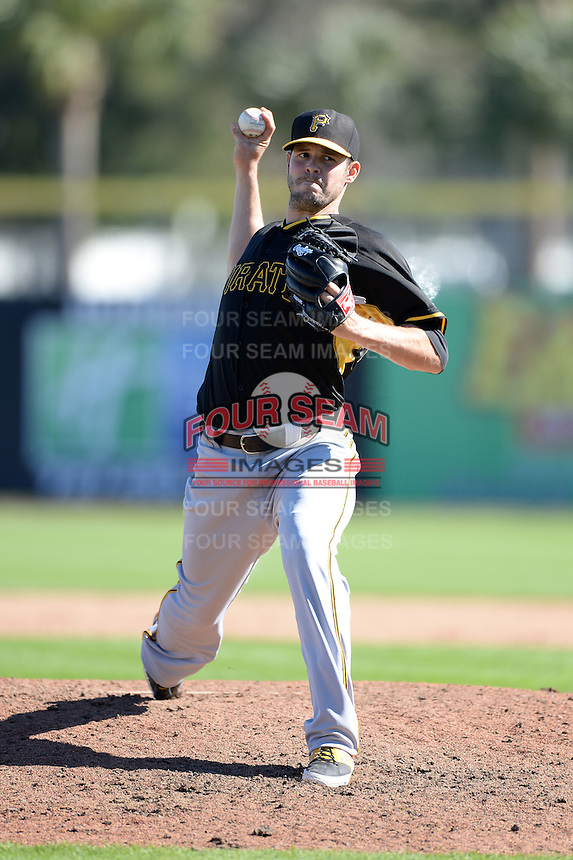 Pitcher Jake Brigham (67) of the Pittsburgh Pirates during a spring training game against the Toronto Blue Jays on February 28, 2014 at Florida Auto Exchange Stadium in Dunedin, Florida.  Toronto defeated Pittsburgh 4-2.  (Mike Janes/Four Seam Images)