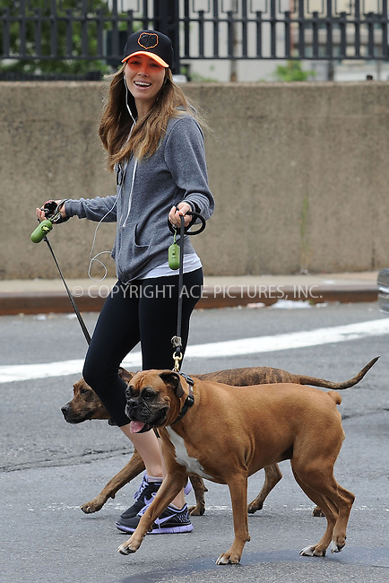 WWW.ACEPIXS.COM<br /> June 8, 2013...New York City <br /> <br /> Jessica Biel  walking her dogs along the Hudson River on June 8, 2013 in New York City.<br /> <br /> Please byline: Kristin Callahan... ACE<br /> Ace Pictures, Inc: ..tel: (212) 243 8787 or (646) 769 0430..e-mail: info@acepixs.com..web: http://www.acepixs.com