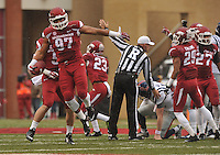 NWA Media/Michael Woods --11/22/2014-- w @NWAMICHAELW...University of Arkansas defenders Brooks Ellis (51) and Tevin Beanum (97) after the Razorbacks recover a fumble in the 2nd quarter of Arkansas 30-0 win over Ole Miss during Saturdays game at Razorback Stadium.