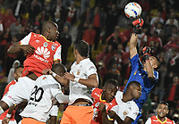 BOGOTÁ -COLOMBIA, 19-07-2017: Santiago Londoño arquero del Envigado en acción durante el encuentro entre Independiente Santa Fe y Envigado FC por la fecha 3 de la Liga Aguila II 2017 jugado en el estadio Nemesio Camacho El Campin de la ciudad de Bogota. / Santiago Londoño goalkeeper of Envigado in action during match between Independiente Santa Fe and Envigado FC for the date 3 of the Aguila League II 2017 played at the Nemesio Camacho El Campin Stadium in Bogota city. Photo: VizzorImage/ Gabriel Aponte / Staff