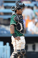 Greensboro Grasshoppers catcher Wilfredo Gimenez #25 during the first game of a double header against the Asheville Tourists at McCormick Field on July 26, 2011 in Asheville, North Carolina. Asheville won the game 12-4.   (Tony Farlow/Four Seam Images)