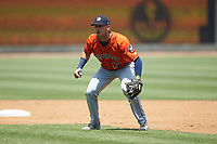 Buies Creek Astros second baseman Cody Bohanek (13) on defense against the Winston-Salem Dash at BB&T Ballpark on July 15, 2018 in Winston-Salem, North Carolina. The Dash defeated the Astros 6-4. (Brian Westerholt/Four Seam Images)