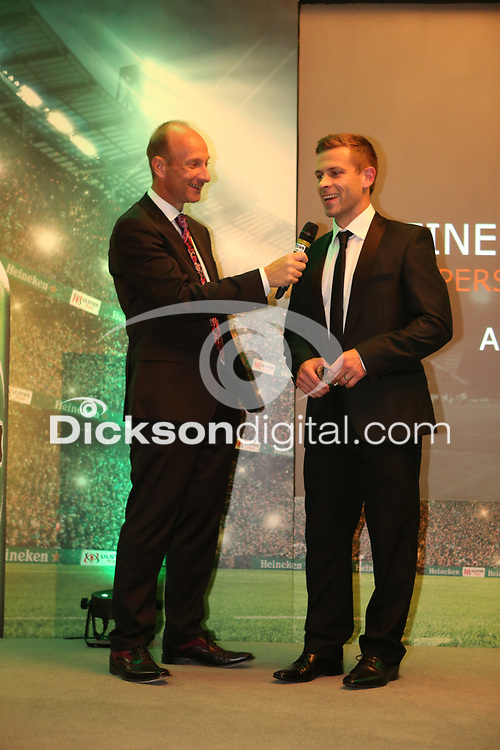 Thursday 10th May 2018 | Ulster Rugby Awards 2018<br /> <br /> Stephen Watson interviews the Heineken Ulster Rugby Personality of the Year Award to Paul Marshall, during the 2018 Heineken Ulster Rugby Awards at La Mom Hotel, Belfast. Photo by John Dickson / DICKSONDIGITAL