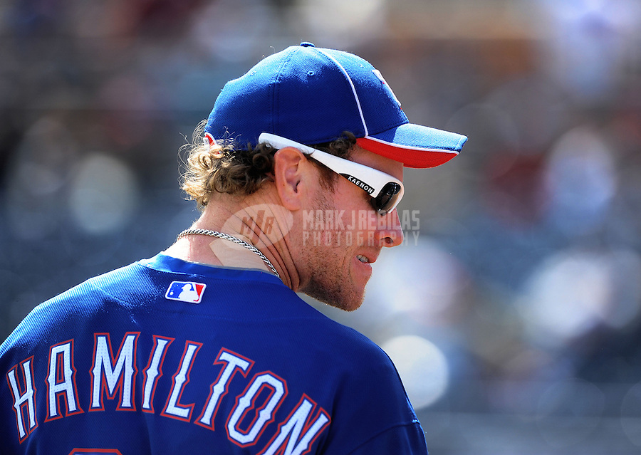 Mar. 7, 2012; Peoria, AZ, USA; Texas Rangers outfielder Josh Hamilton prior to the game against the San Diego Padres at Peoria Stadium.  Mandatory Credit: Mark J. Rebilas-.